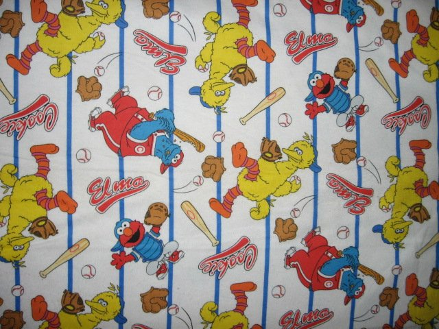 Sesame Street Big Bird Ernie Cookie monster baseball white flannel by the yard