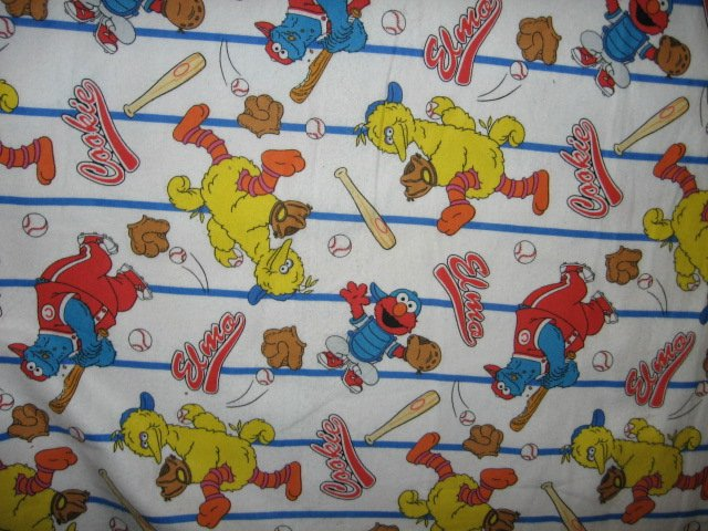 Image 1 of Sesame Street Big Bird Ernie Cookie monster playing baseball white by the yard