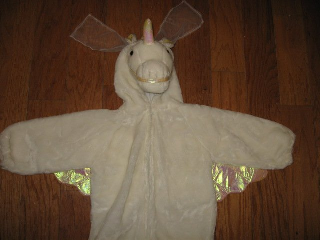 Image 0 of Chrisha playful plush Unicorn white horse costume ages 4-6 teacher school play