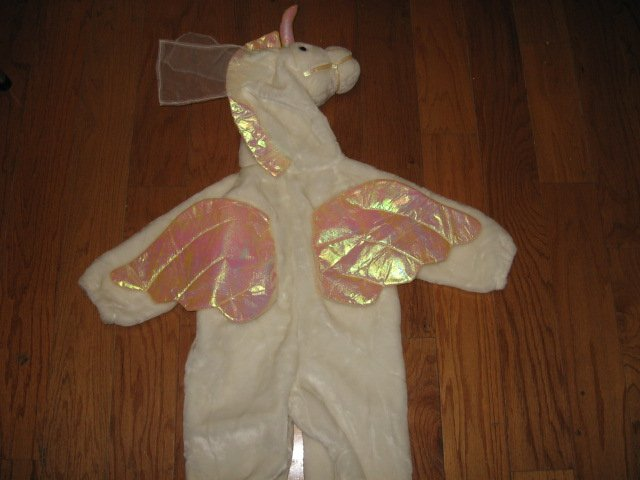Image 1 of Chrisha playful plush Unicorn white horse costume ages 4-6 teacher school play