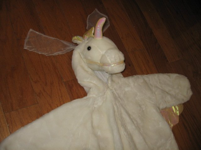 Image 2 of Chrisha playful plush Unicorn white horse costume ages 4-6 teacher school play