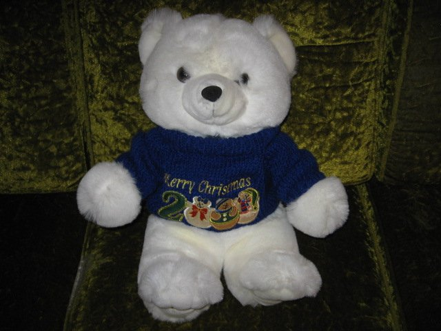 Image 1 of Collectible Christmas Teddy Bear plush blue sweater new 2000 18