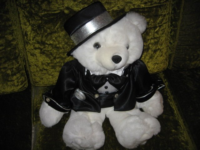 Image 1 of Collectible New Year Teddy Bear plush tuxedo hat new 2000 18