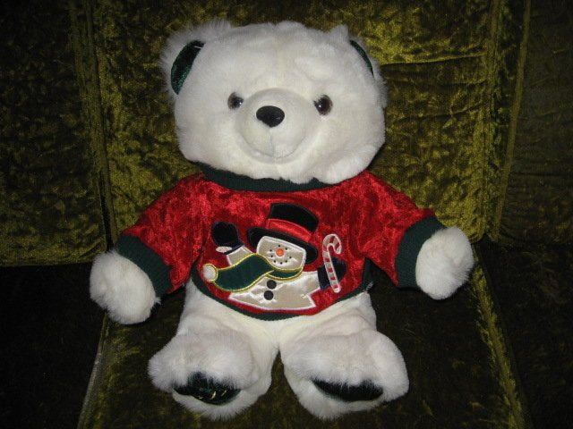 Image 1 of Christmas Teddy Bear collectible plush sweater appliqued snowman  rare  1999 18