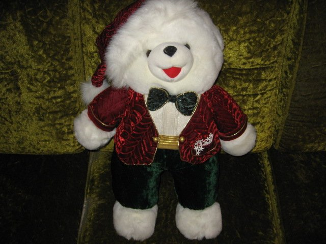Image 1 of Christmas Teddy Bear DanDee Rare 2002 collectible plush tuxedo bowtie hat   23