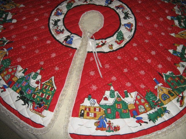 Image 1 of Christmas village houses snowflakes Tree Skirt Finished lace edge