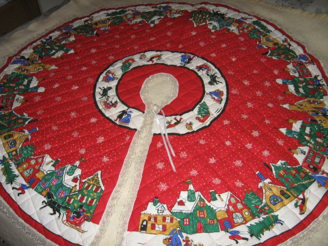 Image 2 of Christmas village houses snowflakes Tree Skirt Finished lace edge