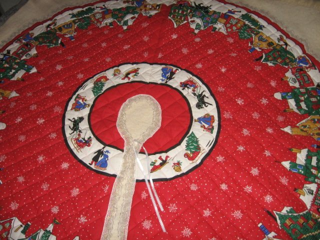 Image 3 of Christmas village houses snowflakes Tree Skirt Finished lace edge