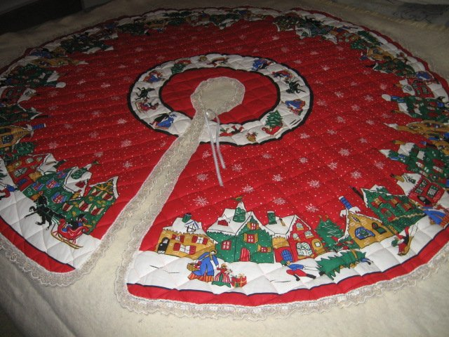 Image 4 of Christmas village houses snowflakes Tree Skirt Finished lace edge