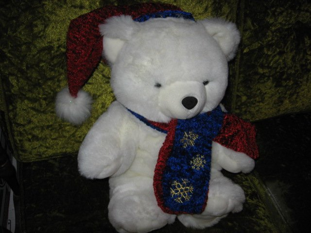 Image 1 of ChristmasTeddy Bear collectible new scarf and cap  rare  2001 18