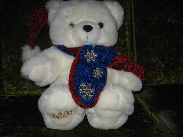 Image 2 of ChristmasTeddy Bear collectible new scarf and cap  rare  2001 18