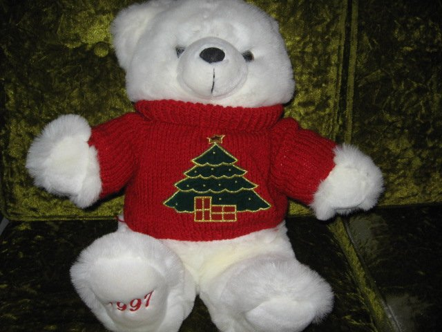 Image 0 of Collectible Christmas Teddy Bear plush red embroidered  sweater new 1997 18