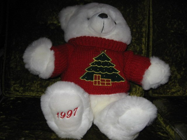 Image 1 of Collectible Christmas Teddy Bear plush red embroidered  sweater new 1997 18