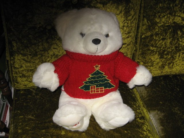 Image 2 of Collectible Christmas Teddy Bear plush red embroidered  sweater new 1997 18