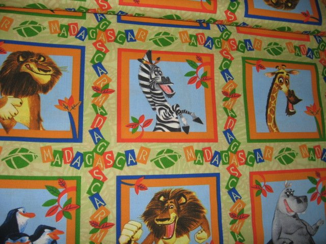 Madagascar squares Lion zebra giraffe hippo Set of 14  to sew