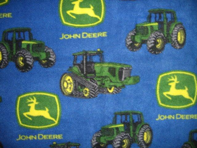 Image 2 of John Deere Tractor child  blue Fleece Blanket 30