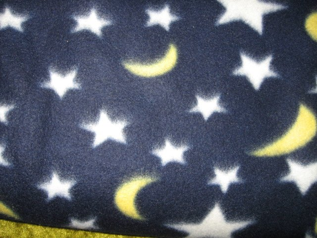 Crescent moon and stars  fleece blanket 46 X 64
