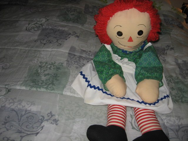Image 1 of Raggedy Ann doll soft dress apron yarn hair