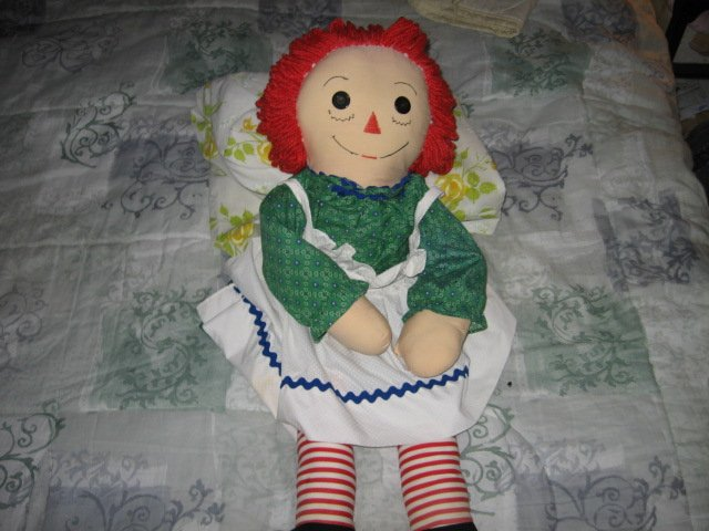 Image 0 of Raggedy Ann doll soft dress apron yarn hair