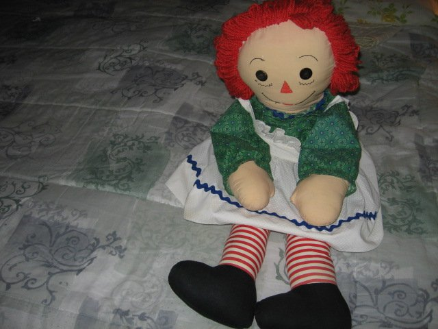 Image 2 of Raggedy Ann doll soft dress apron yarn hair