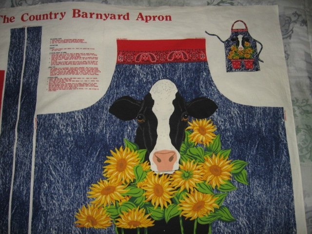 Image 1 of Barnyard farm country cow sunflower adult cotton apron to sew