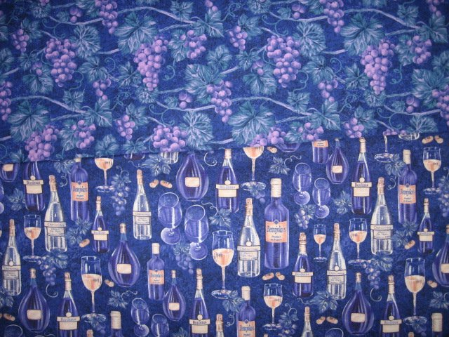 Set of two different cotton fabrics to sew by Avlyn grapes vines bottles