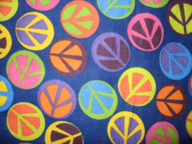 Image 0 of Retro peace signs on dark blue Flannel baby receiving blanket 40 X 34 inches