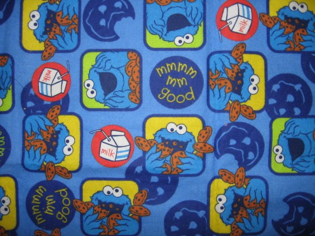 Image 1 of Elmo Cookie Monster mmGood Blue Flannel Baby Blanket or toddler