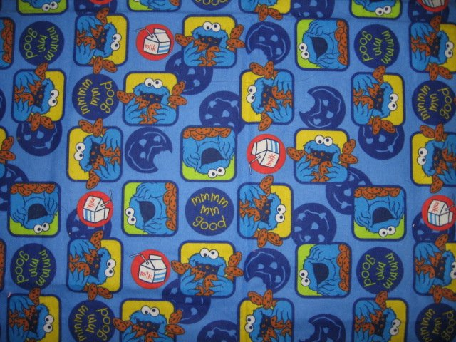 Image 2 of Elmo Cookie Monster mmGood Blue Flannel Baby Blanket or toddler
