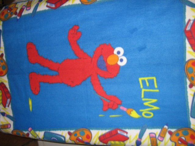 Image 1 of Elmo the painter Sesame Street Very Rare piece Child bed size fleece blanket