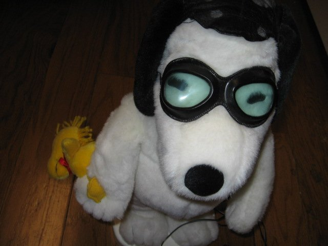 Image 1 of Snoopy Woodstock motion aviator doll  Rare