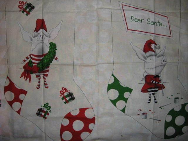 Olivia the Pig 19 Christmas Stocking 100% cotton Fabric Panel to Sew
