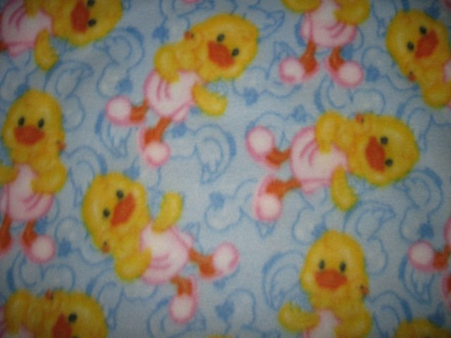 Duckling with rubber duckie bath slippers fleece baby blanket