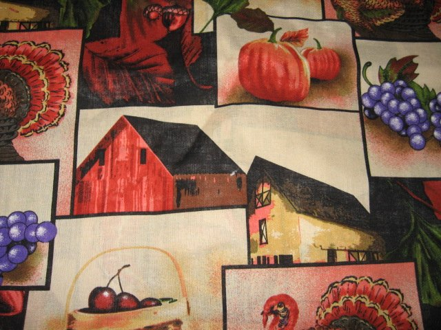 Image 1 of Thanksgiving Harvest Pumpkin Turkey Barn cherry grape cotton by the yard