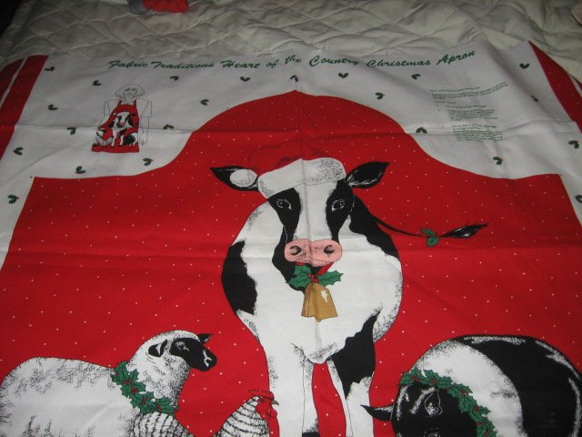 Image 0 of cow sheep chicken pig Christmas apron to sew cotton