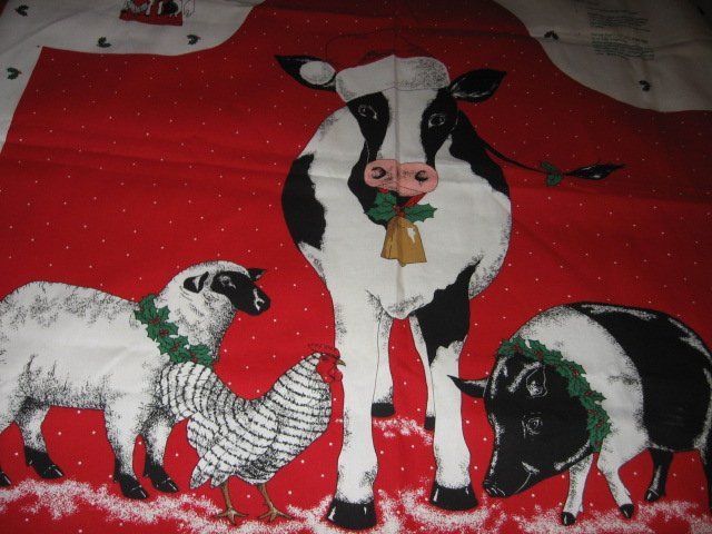 Image 1 of cow sheep chicken pig Christmas apron to sew cotton