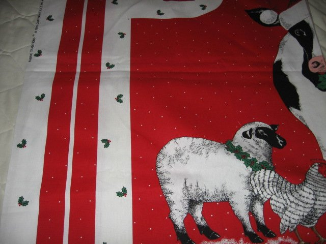 Image 2 of cow sheep chicken pig Christmas apron to sew cotton