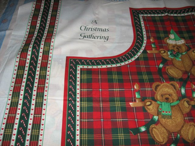 Image 2 of Teddy Bear  Christmas red and green plaid apron to sew cotton