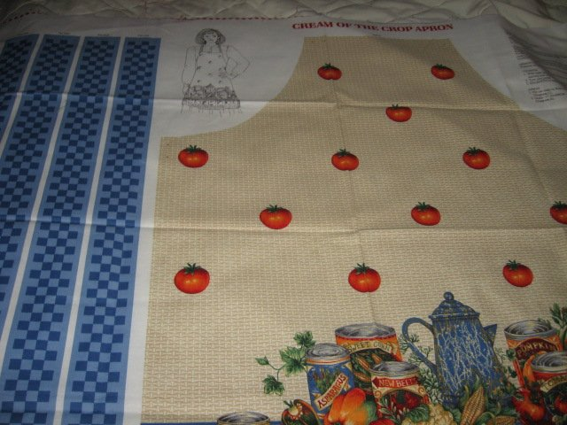 Image 1 of Vegetable tomato farm fabric apron panel adult Cotton to sew