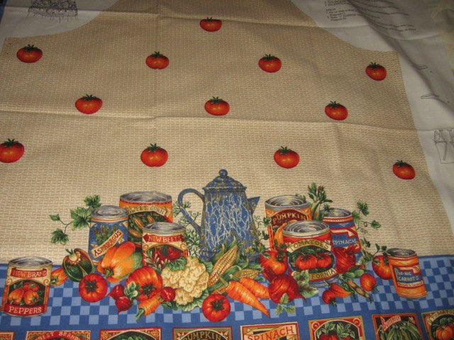 Image 2 of Vegetable tomato farm fabric apron panel adult Cotton to sew