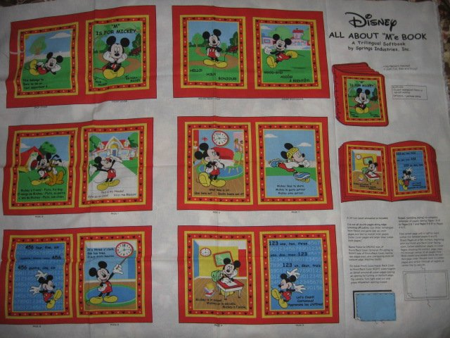 Mickey Mouse Disney All about Me  soft book panel or Quilt to sew /