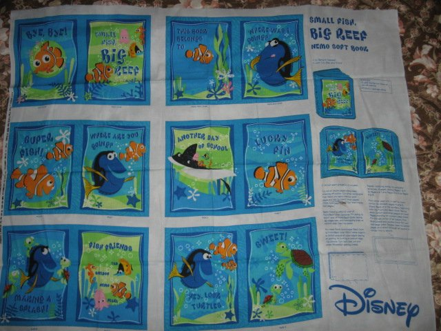 Nemo Disney small fish big reef fabric soft book panel or Quilt to sew /
