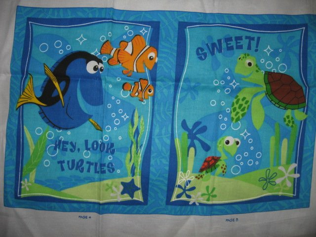 Image 1 of Nemo Disney small fish big reef fabric soft book panel or Quilt to sew /