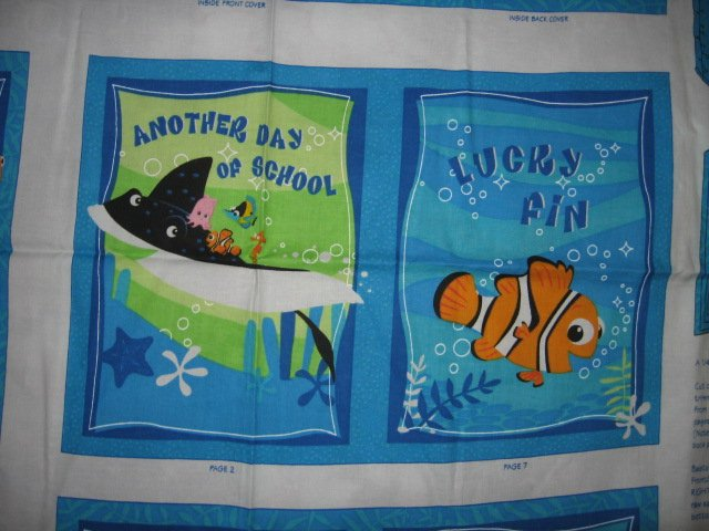 Image 2 of Nemo Disney small fish big reef fabric soft book panel or Quilt to sew /