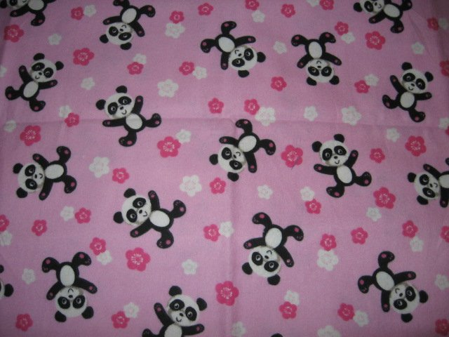 Image 0 of Panda bears handmade PALE Pink fllannel baby blanket toddler drag along comfort