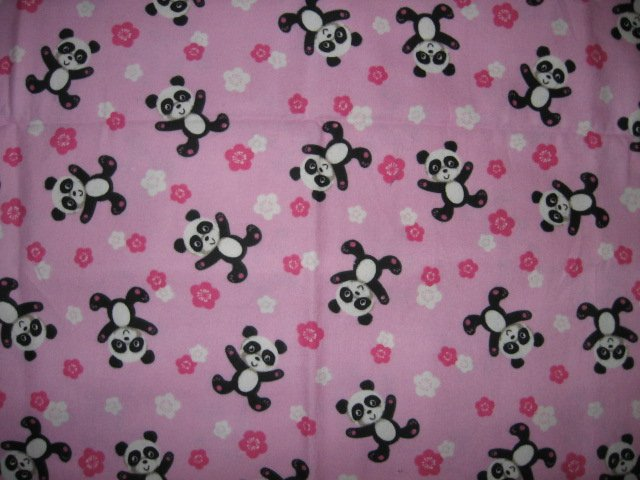 Image 1 of Panda bears handmade PALE Pink fllannel baby blanket toddler drag along comfort