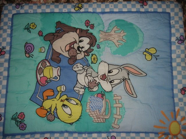 Tweety Taz Bugs baby Looney Tunes checks crib quilt out of print