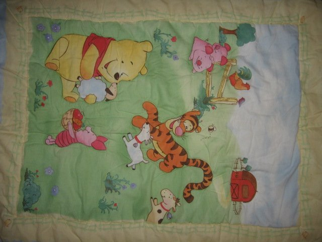 Pooh Tigger Piglet on farm crib quilt out of print