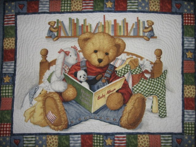 Blue Jean Teddy Baby Album crib quilt out of print
