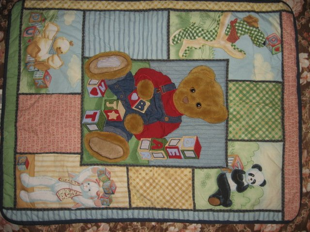 Blue JeanTeddy and friends blocks  crib quilt out of print
